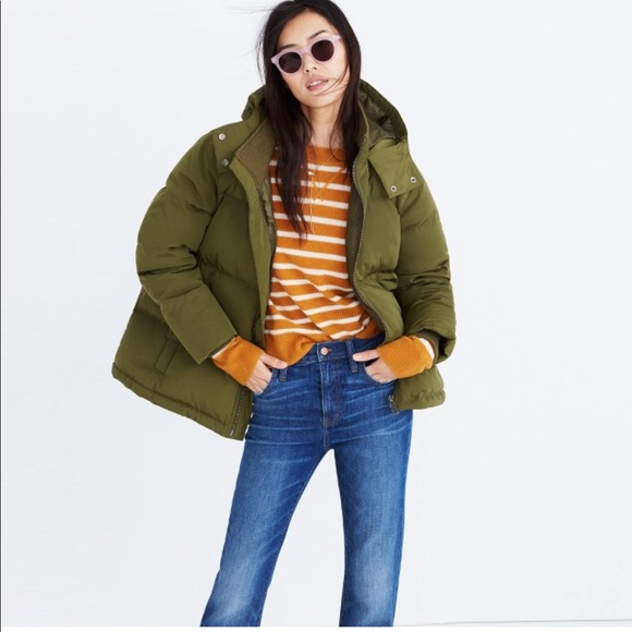 c6609fceb2545 Madewell Green Quilted Down Puffer Parka